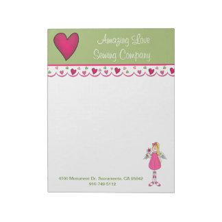 かわいらしい天使およびハートビジネス大きいメモ帳2 ノートパッド