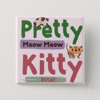 かわいらしい子猫の正方形ボタン 5.1CM 正方形バッジ