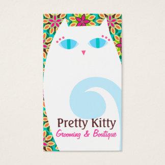かわいらしい子猫の白及び花柄 名刺