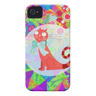 かわいらしい子猫Gifts Vibrant Colorful熱狂するな猫の女性 Case-Mate iPhone 4 ケース