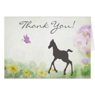 かわいらしい子馬および蝶馬のサンキューカード カード