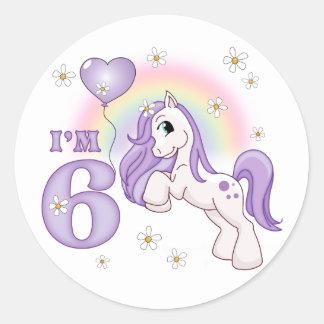 かわいらしい子馬の第6誕生日 ラウンドシール
