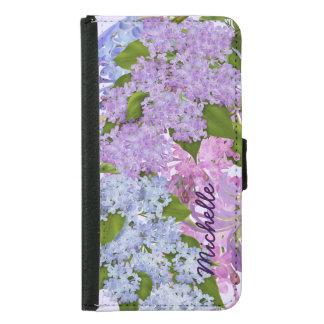 かわいらしい庭のライラックの紫色の薄紫の花 GALAXY S5 ウォレットケース
