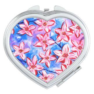 かわいらしい春の花の水彩画のコンパクトの鏡