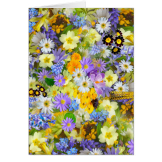 かわいらしい春の花の緑豊かでカラフルな花束のデザイン カード