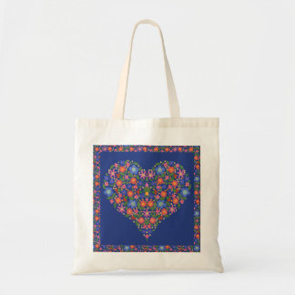 かわいらしい民芸の花のハート、ロイヤルブルーのトートバック トートバッグ