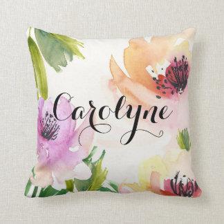 かわいらしい水彩画によっては名前入りな枕が開花します クッション