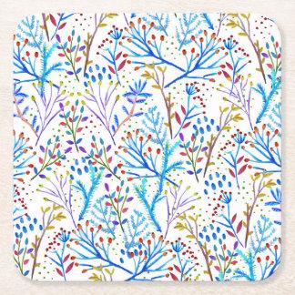 かわいらしい水彩画の冬の群葉パターンデザイン スクエアペーパーコースター