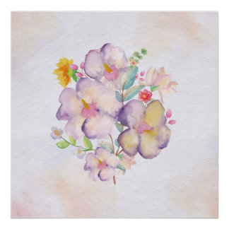 かわいらしい水彩画の花束(1) ポスター