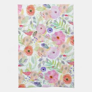 かわいらしい水彩画手のペンキの抽象芸術の花柄 キッチンタオル