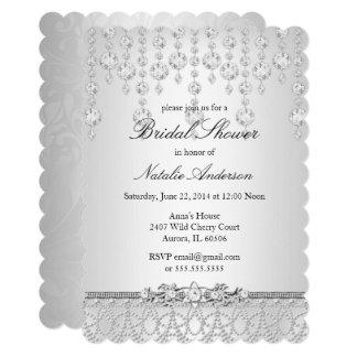 かわいらしい水晶ブライダルシャワーの招待状 カード