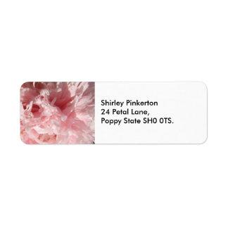 かわいらしい淡いピンクのケシの宛名ラベル ラベル