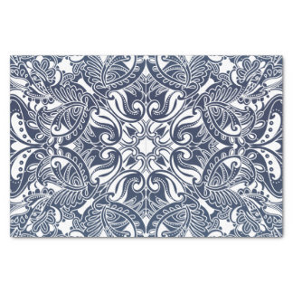 かわいらしい濃紺および白いペイズリー 薄葉紙