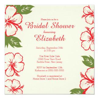かわいらしい熱帯ハイビスカスのブライダルシャワーの招待状 13.3 スクエアインビテーションカード