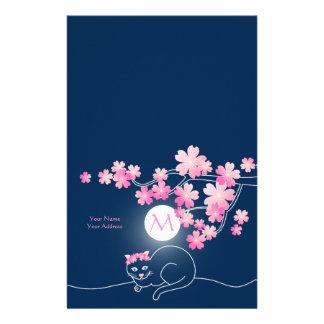 かわいらしい猫の桜の月のピンクの桜の青 便箋