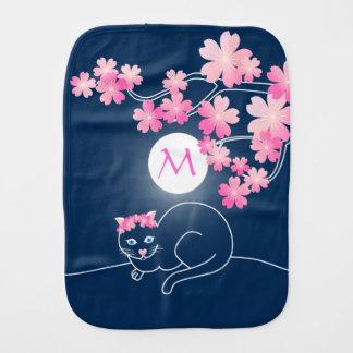 かわいらしい猫の桜夜ピンクの青の桜 バープクロス