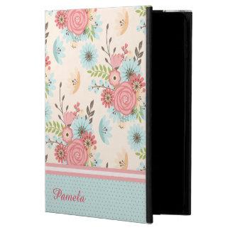かわいらしい珊瑚および青い花のカスタムなiPad Air2の箱 Powis iPad Air 2 ケース