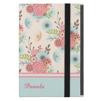 かわいらしい珊瑚および青い花のカスタムなiPad Miniケース iPad Mini カバー