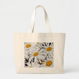 かわいらしい白いデイジーの花のプリント ラージトートバッグ
