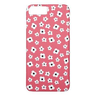 かわいらしい白い花パターン-珊瑚の背景 iPhone 8 PLUS/7 PLUSケース