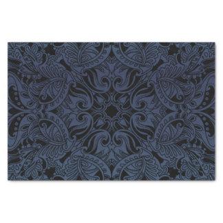 かわいらしい石板の青および黒いペイズリー 薄葉紙