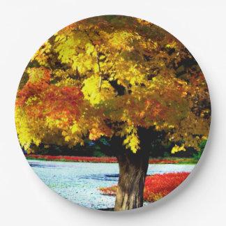 かわいらしい紅葉の素朴な秋の結婚式色 ペーパープレート
