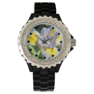 かわいらしい紫色および黄色アイリスラインストーンの腕時計 腕時計