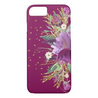かわいらしい紫色のグリッターの花のiPhone 7の場合 iPhone 8/7ケース