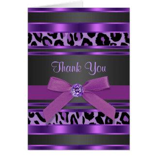 かわいらしい紫色のヒョウのサンキューカード ノートカード
