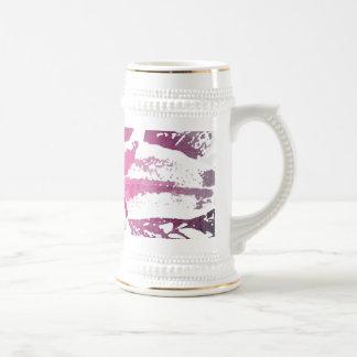 かわいらしい紫色のピンクの水彩画の花の芸術のプリント ビールジョッキ
