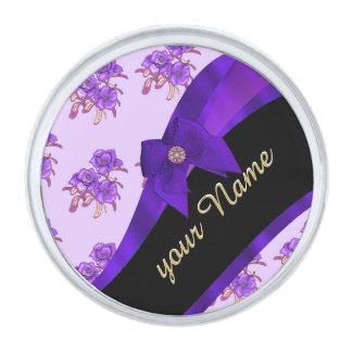 かわいらしい紫色のヴィンテージの花の花模様 シルバー ラペルピン
