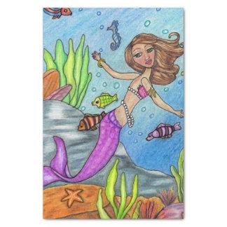 かわいらしい紫色の人魚の水泳の魚の海藻石 薄葉紙
