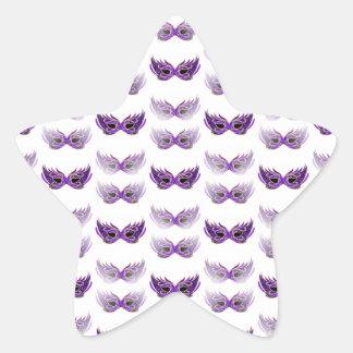 かわいらしい紫色の仮面舞踏会は謝肉祭を覆います 星シール