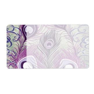 かわいらしい紫色の孔雀はエレガントなデザインに羽をつけます ラベル