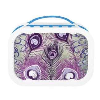 かわいらしい紫色の孔雀はエレガントなデザインに羽をつけます ランチボックス