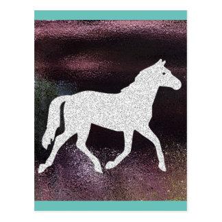 かわいらしい紫色の揺らめく金属馬 ポストカード