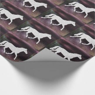 かわいらしい紫色の揺らめく金属馬 ラッピングペーパー