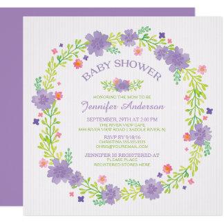 かわいらしい紫色の花のリースの女の子のベビーシャワー カード