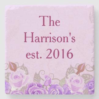 かわいらしい紫色の花の結婚式は名前をカスタマイズ ストーンコースター