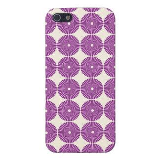 かわいらしい紫色の薄紫の円ディスク織り目加工ボタン iPhone 5 COVER