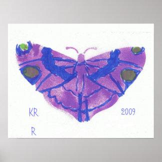 かわいらしい紫色の蝶ポスター ポスター