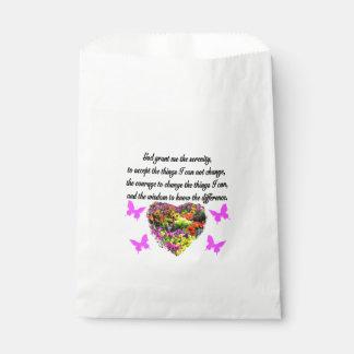 かわいらしい紫色の野生花の平静の祈りの言葉の写真 フェイバーバッグ