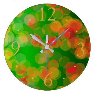 かわいらしい緑の赤い金ゴールドのSpots>のパターン(の模様が)あるな時計 ラージ壁時計