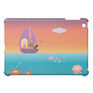 かわいらしい航行ボートの海のかわいい女の子及びペット iPad MINIケース