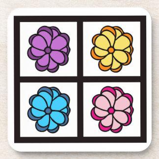 かわいらしい花のスケッチ コースター