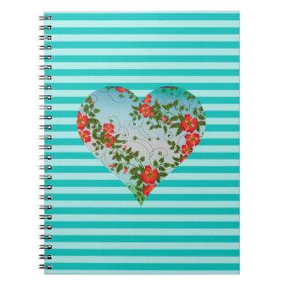 """かわいらしい花のストライプのでかわいいハート愛デザインの""""ギフト ノートブック"""