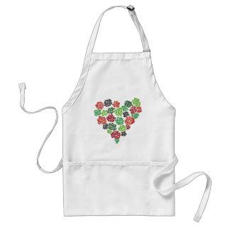 かわいらしい花のバラのハートの台所料理のエプロン スタンダードエプロン