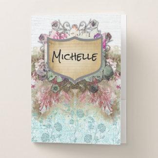 かわいらしい花のピンクの白くおよび青の一流のプラク ポケットフォルダー