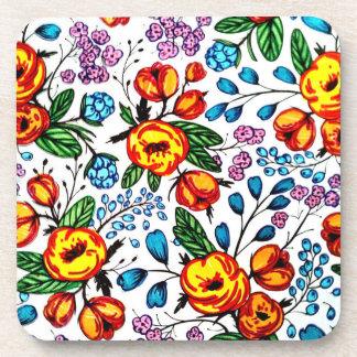 かわいらしい花のプラスチックコースター- 6のセット コースター
