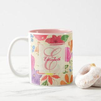 かわいらしい花のモノグラムのマグ ツートーンマグカップ
